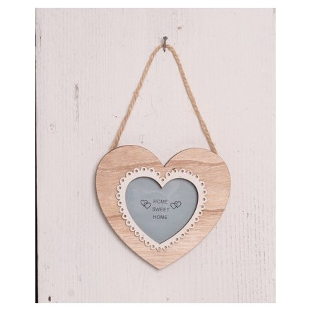 Hanging Wooden Heart Frame 39165 Homeware Photo Frames