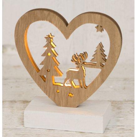 LED Woodland Scene Heart