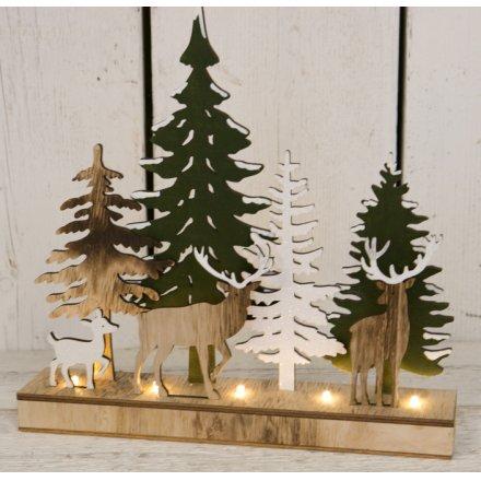 Woodland Reindeer Glittered LED Scene