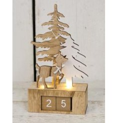 A beautiful little wooden winter scene with an added LED decal and perpetual calendar