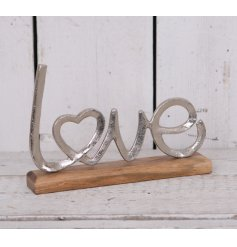 A Silver Metal Love Ornament
