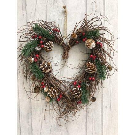 Christmas Heart Wreath.Woodland Twig Heart Wreath 39188 Christmas Wreaths And