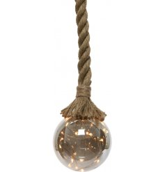 Bring an industrial element to any home interior with this hanging rope LED light