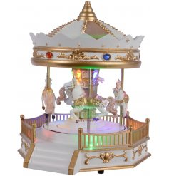 Bring an enchanting Winter Wonderland touch to any home decor or display with this illuminating carousel
