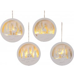 Bring a cozy glow to any Christmas tree or fireplace mantle with these assorted hanging round decorations