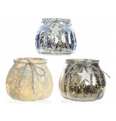 Bring home a beautiful winter touch with this glamorous assortment of glass pots with LED fittings