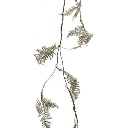 Pine Branch Glitter Coated Garland Light Up 140cm