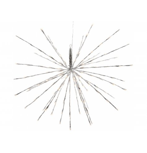 A stunning hanging silver spray star decoration with adjustable spokes and twinkling LED lights.