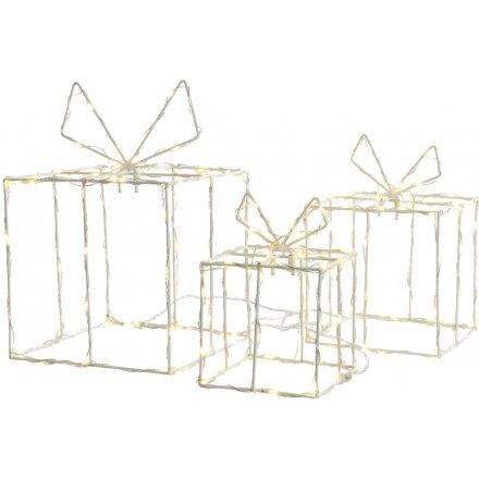 White LED Present Boxes Set of 3