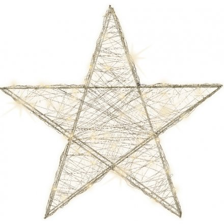 Silvered LED Sleek Star