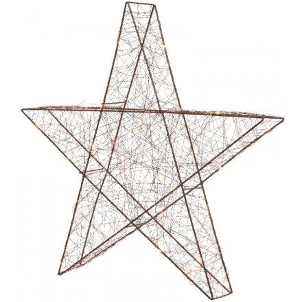 Large Brown Metal LED Star Light Up 50cm