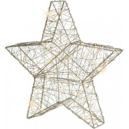 Large Silvered LED Sleek Star 70cm