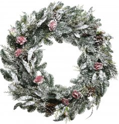 Bring a frosted winter touch to any home interior or front door with this beautifully decorated frosted wreath