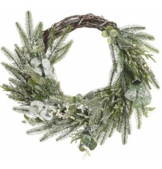 Bring a frosted winter touch to any home interior or front door with this beautifully decorated wicker wreath