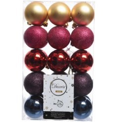 This Colourful Christmas themed set of baubles will add an on-trend glittered vibe to your home