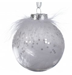 Hanging from a silvered ribbon, this sequin speckled bauble is filled and topped with a fluffy white feathe