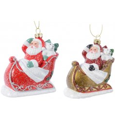 Coated with a sprinkle of glitter, these two hanging decorations will look perfect in any Traditional themed tree
