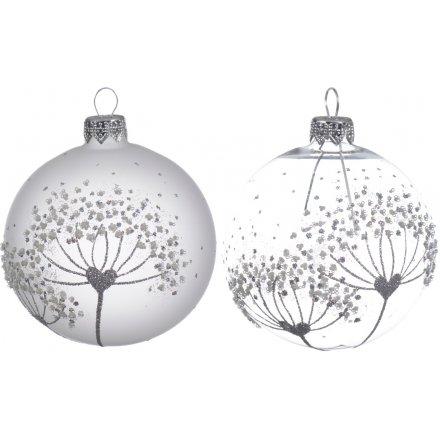 Glitter Dandelion Glass baubles