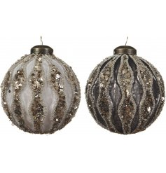 A beautiful assortment of hanging glass baubles, set with a metallic look and sequin accents