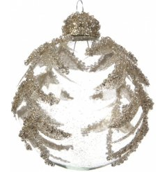 With its simple glitzy design, this glass bauble will hang perfectly in any Luxury Living inspired tree