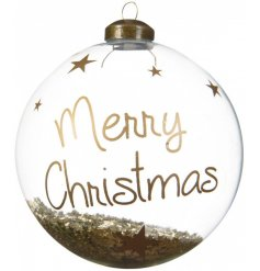 Bring a golden Luxe edge to your Christmas decor this season with this clear glass bauble