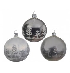 Set in their light, dark and matte metallic tones, these glittered tree decorated baubles will be sure to add a Rustic