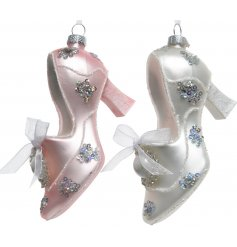 Bring a Pretty Pink touch to any home decor at Christmas time with this elegant assortment of hanging high heeled pumps