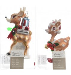Bring a sweet woodland touch to your tree decor this Christmas time with this adorable assortment of glass reindeer deco