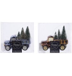 Complete in their golden and royal blue metallic tones, these tree carrying pickup trucks will look perfect in any Chri