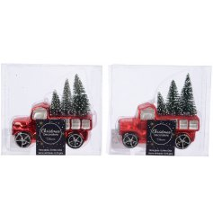 these tree carrying pickup trucks will look perfect in any Christmas tree display