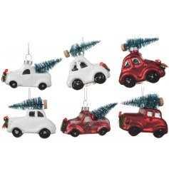 These metallic glass car decorations will be sure to add a classical edge to any Christmas tree theme this season