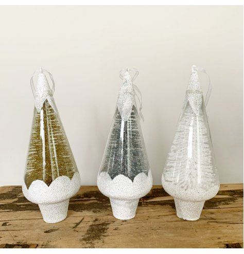 Unique cone shaped tree decorations filled with sparkling white, silver and gold bristle Christmas trees.