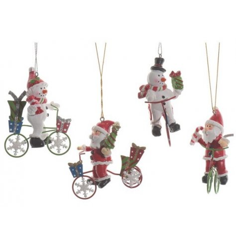 Colourful cycling Christmas characters delivering an abundance of gifts and sweet treats.