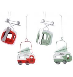 this assortment of hanging ski lifts and caravans will be sure to add a fun festive touch to any tree decor