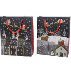 A beautiful assortment of Christmas Eve themed gift bags,