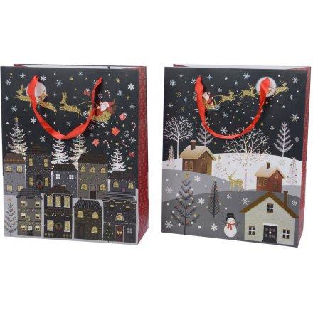 Christmas Eve Scene Gift Bags - Small
