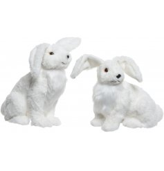 An adorable assortment of winter white fuzzy hare figures, perfect for any Winter themes in the home