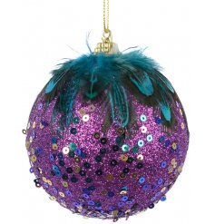 Bring a glittered Peacock touch to your tree decor this Christmas with this fabulous sequin covered foam bauble