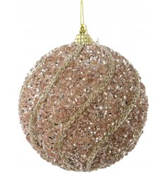 Hanging from its golden string, this rose pink glitter coated bauble is perfectly finished with an added gold pattern