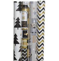 This stylish assortment of Silver, Gold, Back and White themed wrapping paper will be sure to add a Glam Golden touch