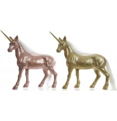 Add a mystical and magical feel to any home set up or display with this shimmering assortment of standing unicorn figure