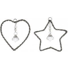 Bring a charming Silver Luxe touch to any tree decor or display with this assortment of hanging star and heart decorati