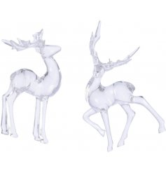 A beautifully charming assortment of hanging reindeer decorations with an added clear glass effect