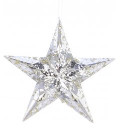 this hanging acrylic star decoration will place perfectly in any themed tree decor at Christmas time