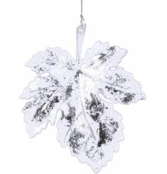 Bring a frosted touch to any tree decor this Christmas season with this beautifully simple hanging acrylic leaf