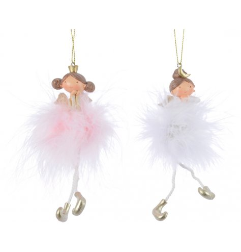 An assortment of 2 princess ballerina decorations with dangling legs and pink and white fluffy skirts.