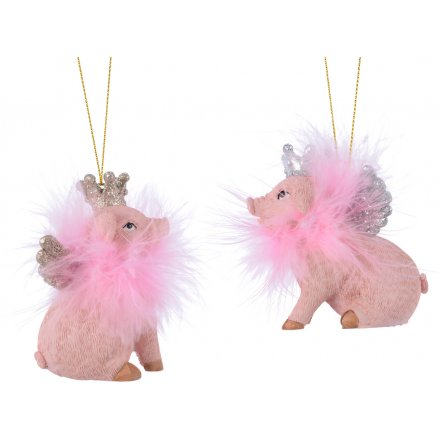 Hanging Pigs with Feather Boas