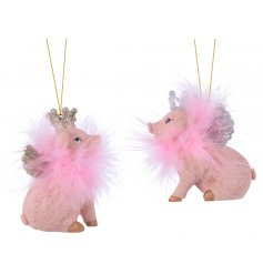 add a fun touch to any themed tree decor this Christmas season with this quirky assortment of hanging pink pig decorati