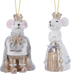 This assortment of King and Queen resin mice will be sure to add a golden glitz feel to any tree they're in