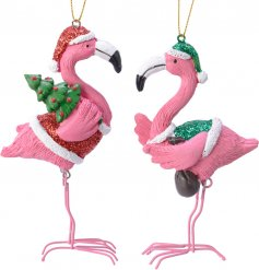 Add a fun flamingo feel to your tree decor this festive season with this funky assortment of hanging flamingo decoratio